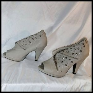 BKE Sole Gray Peep Toe Studded  Ankle Boot